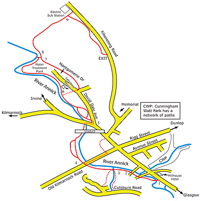 Map of walks in and around Stewarton