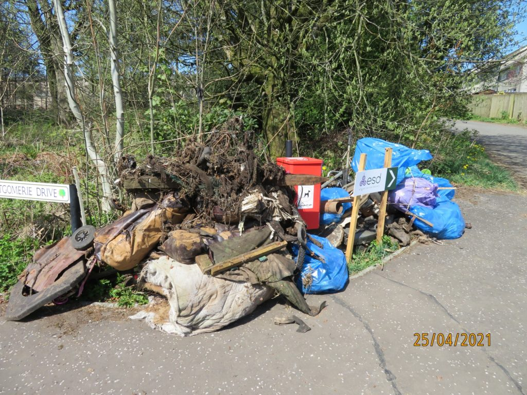 Collected rubbish for uplift